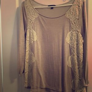 American eagle long sleeve embroidered blouse
